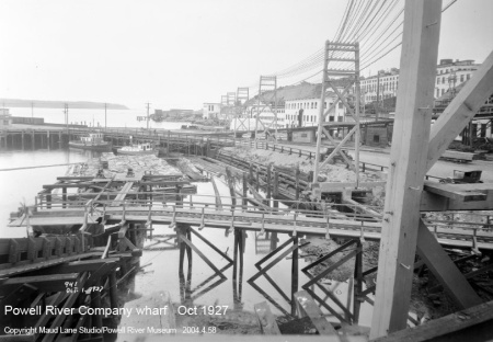 Powell River Company wharf in Oct 1927