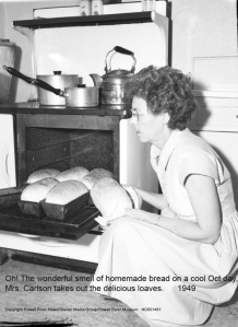 Mrs. Carlson I can smell your wonderful bread 63 years later.  THANK YOU!  Such a treat on a cold Oct day.