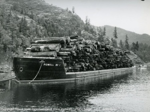 Powell River Company log barge at Teakern Arm   November   1954