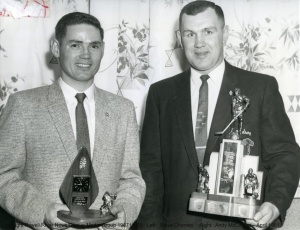 Left:  Steve ChorneyRight: Andy McCallum Hockey  April 1961
